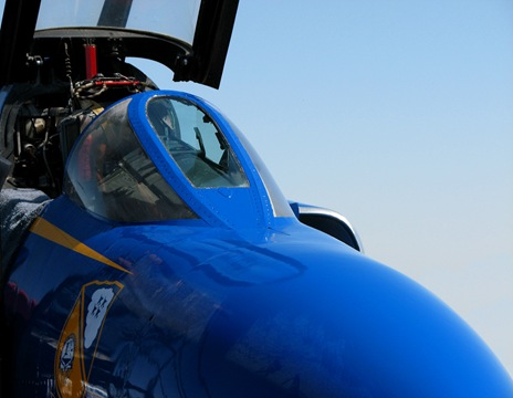Blue Angel Phantom, this is a cockpit of a Blue Angel Pahntom used for photo ops.